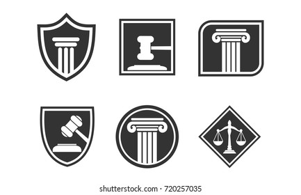 Lawyer and Law Office, emblem labels set, protection an lawyer