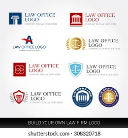 Lawyer logo design templates. Law office logo set. The judge, Law firm logo templates, lawyer set of vintage labels collection. Vector logotypes.