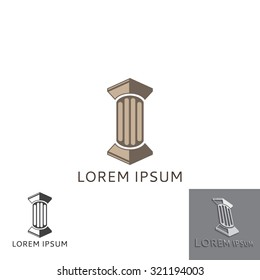 Lawyer logo in the form of greece column. Vector illustration.