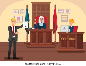Lawyer Providing Evidence Flat Vector Illustration. Cartoon Prosecutor Arguing with Barrister in Courtroom. Judge Moderating Accusation, Defense Sides. Solicitor Shows Innocence Proofs in Litigation