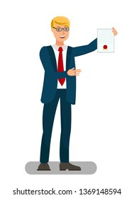 Lawyer Showing Sealed Document Flat Illustration. Prosecutor Presenting Warrant of Arrest Isolated Character. Attorney, Showing Paper Proofs in Litigation Process. Graduate Student Boasting Diploma
