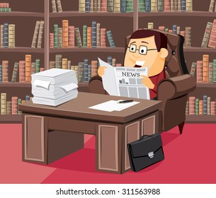 Lawyer sitting in a leather chair and reading a newspaper. Experienced financial adviser. Modern interior law firms. Funny cartoon illustration.