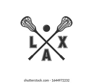 LAX Sports Lacrosse Stick Printable Vector Design.