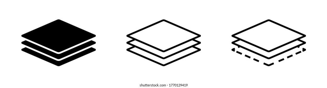 Layer line icon. Vector isolated elements. Outline three layers of roof vector icon. Stock vector. EPS 10