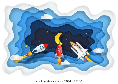 Layer skyscape of rockets launch flying, half moon, stars and clouds in the night as paper art, craft style and start up concept. vector illustrator.