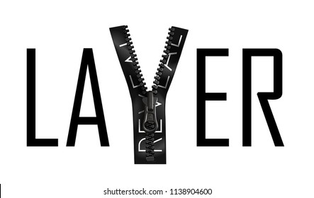 layer slogan with reveal zipper illustration