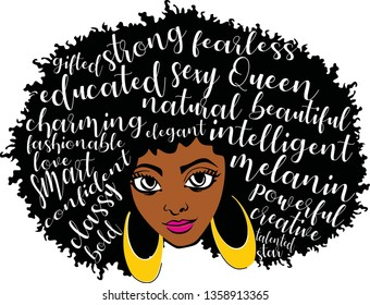 Layered afro woman, earrings vector