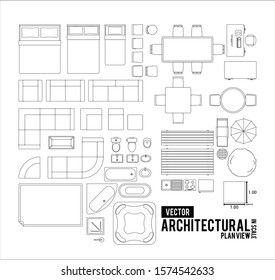 Layered Basic Architectural Drawing of House Furniture Line art Plan View (Top)