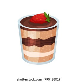 Layered chocolate dessert, panna cotta or vanilla pudding in glass cartoon vector Illustration