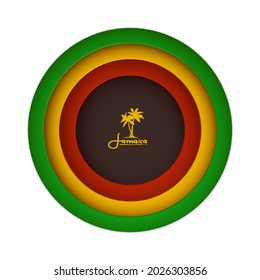 """Layered Cut Out Paper Effect Banner. Vector Illustration of Rasta Flag Colors with Palms """"Jamaica"""" Logo."""