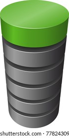 Layered cylinder. Vector.