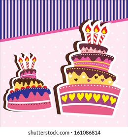 Layered Delicious Birthday or Wedding Cake Card Background Template with Candle Vector