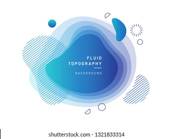 Layered fluid blobs. Blue, azure geometric liquid topography. Abstract blurry free shapes gradient. Brush spot with dynamic colors and circles. Background template for flyer or banner