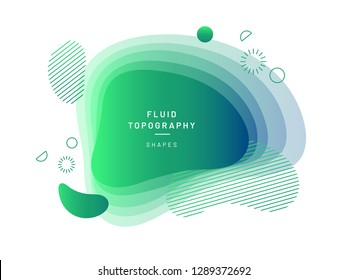 Layered fluid blobs. Green and blue geometric liquid topography. Abstract blurry free shapes gradient. Brush spot with dynamic colors and circles. Background template for flyer or banner