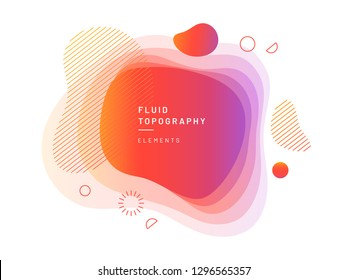 Layered fluid blobs. Yellow and red, violet geometric liquid topography. Abstract blurry free shapes gradient. Brush spot with dynamic colors and circles. Background template for flyer or banner