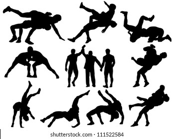 Layered and fully editable wrestling vector silhouettes. This could stand for greco-roman, freestyle, collegiate, scholastic, amateur wrestling or MMA.