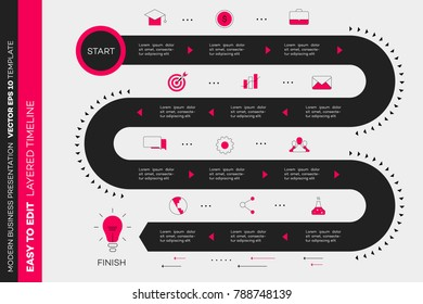 Layered Infographic Timeline. Vector Roadmap, Template For Modern Business Presentation, Annual Reports, Layouts.