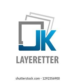 Layered initial letter JK logo concept design. Square symbol graphic template element vector