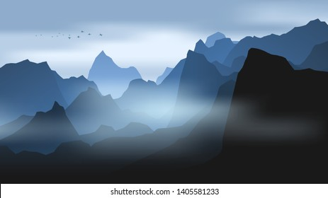 layered landscape with hills and mountains in mist and birds flying at dawn, realistic vector