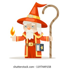 Layered mage sorcerer warlock wiseman fantasy medieval action RPG game character animation ready vector illustration