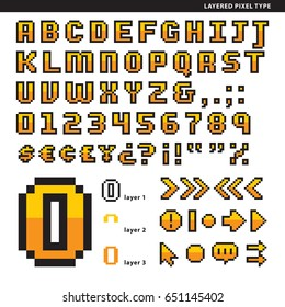 Layered pixel alphabet with symbols for short texts or head texts.