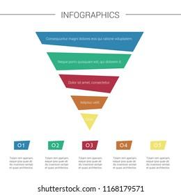 Layered pyramid chart diagram. Marketing Pyramid with 5 charts. Vector Infographic.