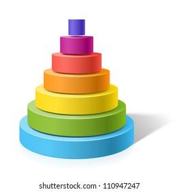 Layered pyramid. Vector.