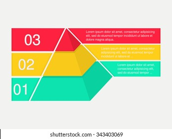 Layered pyramid. Vector infographic. The infographic template includes layered pyramid with banners for text. Illustration could be used as part of business reports, learning materials, presentation.