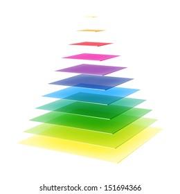 Layered rainbow colored pyramid. Vector.
