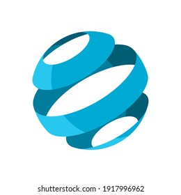 Layered sphere icon. Abstract blue sphere rotation. Circle cut into three parts. 3D spherical design element. Ball divided to 3 slices. Symbol for globe, earth, planet. Vector illustration, clip art