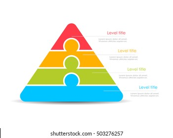 Layered stacked pyramid vector illustration isolated on white background. Pyramid diagram template. Hierarchy pyramid diagram layout.