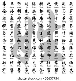 layered vector 100 Chinese surname.