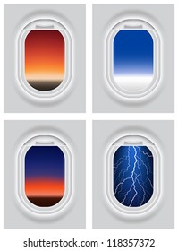 Layered vector illustration of Aircraft's Porthole with different view.
