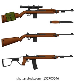 Layered vector illustration of antiquated American Carbine.