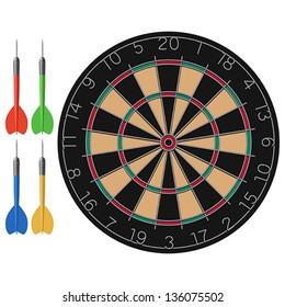 Layered vector illustration of Dart and Dartboard.