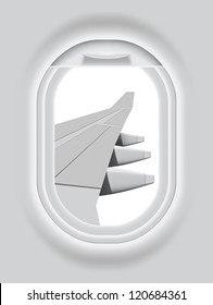 Layered vector illustration of isolated Aircraft s Porthole with white background.