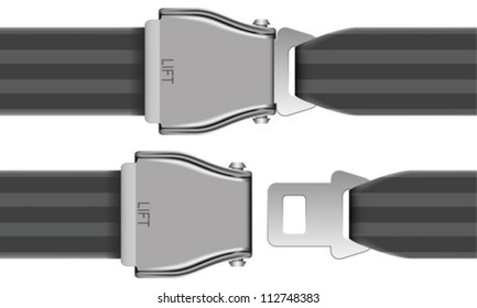 Layered Vector Illustration Of Seat Belt Which Be Used At Airplane.