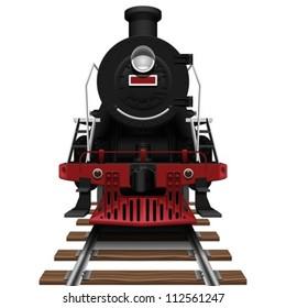 Layered Vector Illustration Of Steam Locomotive.