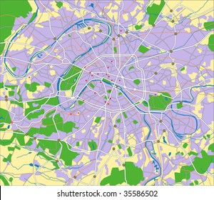layered vector map of paris.