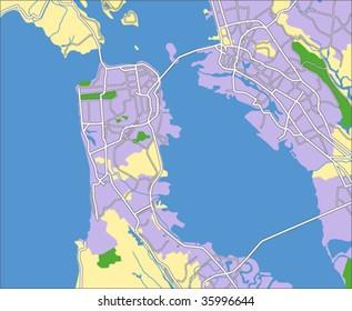 layered vector map of san Francisco.