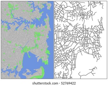 Layered Vector Map Of Sydney.