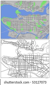 Layered Vector Map Of Vancouver.