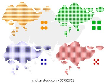 layered vector pixel map of Singapore.