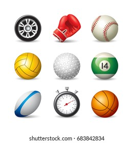 Layered vector set of 9 realistic sport icons isolated on white background