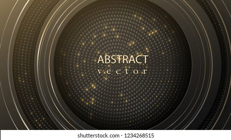 Layers of black cut paper. Some gray rings with sparks. Cover layout or banner. Vector modern background for sale.
