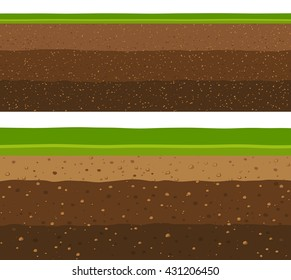 Layers of grass with Underground layers of earth, seamless ground
