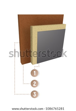 Layers Scheme Thermal Insulation Wall Cut Stock Vector