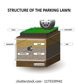 Layers of soil, grass lawn for the cars parking, education diagram. Grille, sand, gravel, geotextile. Template for banners, page, posters, vector illustration.