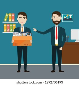 Layoff concept. Boss dismissed employee. Flat vector illustration.