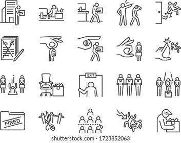 Layoff line icon set. Included icons as employee lay off, job fired, career resign, pay cuts, economic crisis and more.